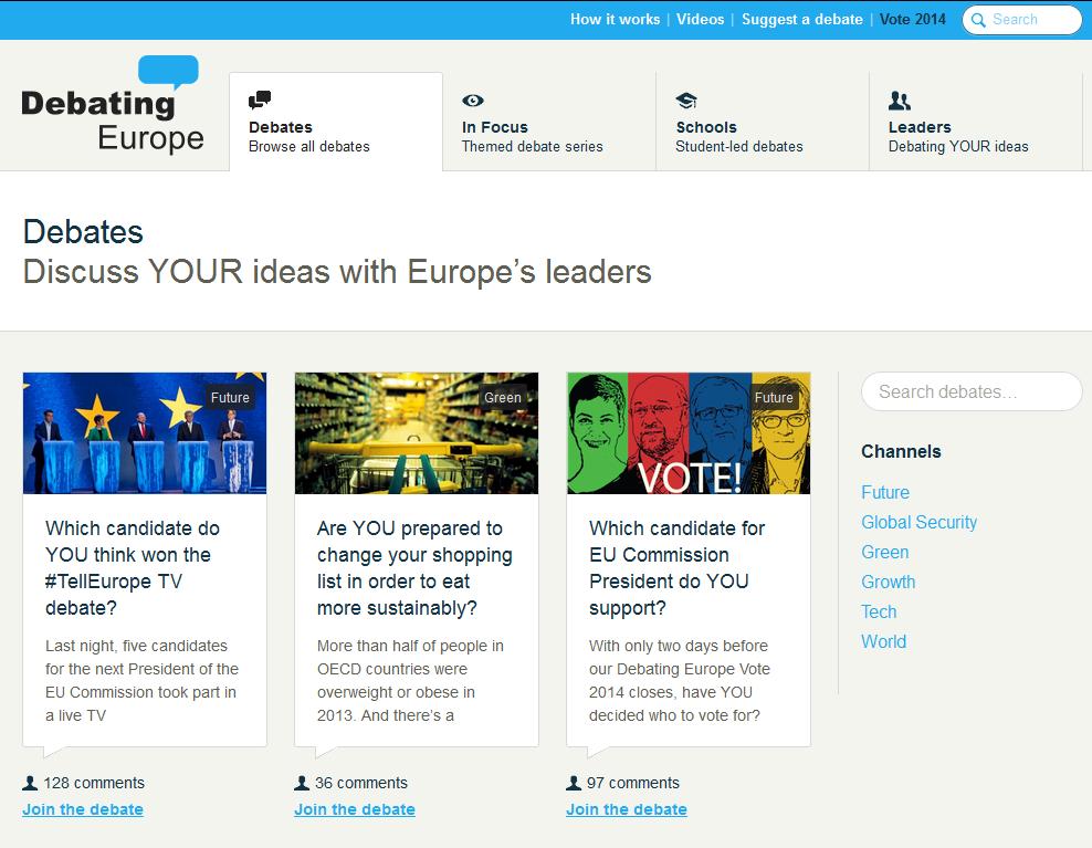 Razprave o Evropi med evropskimi voditelji in državljani - Debate Europe