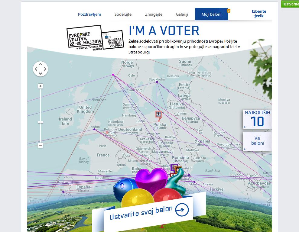 Facebook aplikacija I'm a voter - Evropski parlament